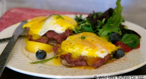 Eggs Benedict with Bison Bresaola