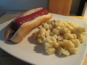 Mettwurst on Bun w Spaetzle with Sage 005