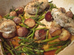 Roast Chicken with Potatoes, Lemon, and Asparagus 002