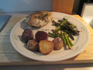 Roast Chicken with Potatoes, Lemon, and Asparagus 006