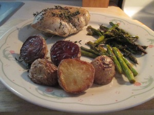 Roast Chicken with Potatoes, Lemon, and Asparagus 009
