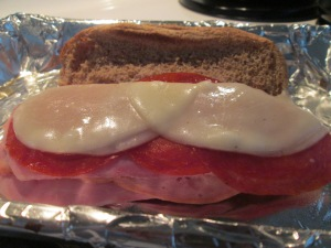 ...with LaRosa's Sauce and melted Provolone Cheese