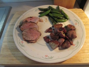 Cumin Spiced Pork Tenderloin  Red Potatoes Sugar Snap Peas 011