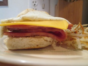 Ham, Cheese, and Fried Egg Biscuit 009