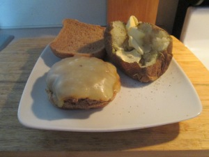 Muenster Cheese Turkey Burger w Baked Potato 006