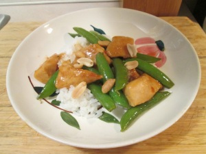 Orange Chicken  w Rice and Sugar Snap Peas 004