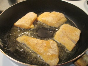Seasoned Haddock w Green Beans and Fried Polenta 002