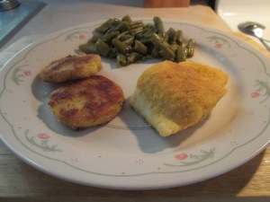 Seasoned Haddock w Green Beans and Fried Polenta 009