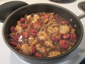 Shrimp and Smoked Turkey Sausage Gumbo  w Cornbread Ears 003