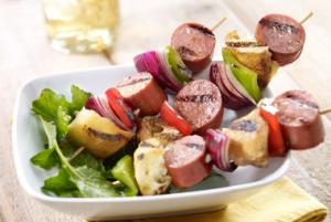 Turkey Sausage & Sourdough Kabobs