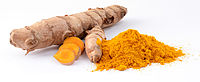 Turmeric rhizome and powder.