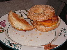 A bacon, egg and cheese sesame bagel