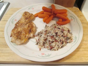 Blackened Yellow Snapper w Multi-Grain Medley and Baby Carrots 011