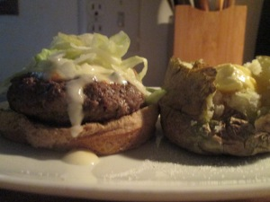 Buffaloed Buffalo Burger w Baked Potato 008