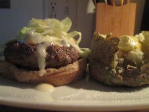 Buffaloed Buffalo Burger w Baked Potato 008
