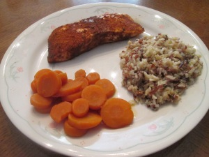 Cajun Blackened Salmon w Multi - Grain Medley and Sliced Carrots 017