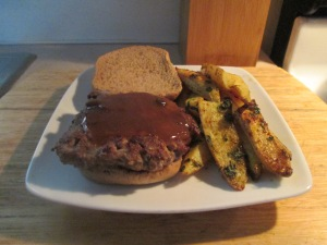 Cube Steak Sandwich w Baked Roasted Fingerling Potatoes 003