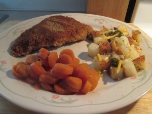 Panko Crusted Veal Cutlet  w Jalapeno Cheese Fried Potatoes and 005