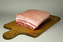 Pork belly cut, shows layers of muscle and fats