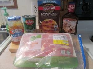 BBQ Glazed Chicken Thighs w Loaded Potato Casserole and Cut Gree 002
