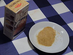 Breadcrumbs from a box on a plate