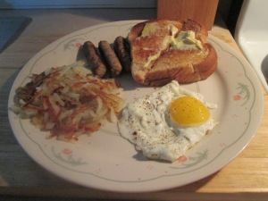 Breakfast for Dinner w Eggs, Hash Browns, Turkey Sausage, and Wh 002