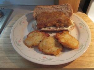 Panko Crusted Cod Fish Sandwich w Potato Pancakes 003