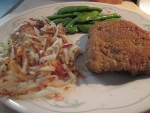 Panko Crusted Veal Cutlet w Hash Browns and Sugar Snap Peas 005