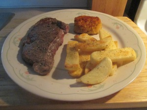 Surf and Turf - Crab Cake and Bison Strip Loin Steak w Baked Fri 009