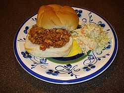 A homemade sloppy joe with coleslaw