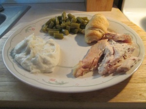 Baked Bone-In Whole Chicken Breast w Mashed Potatoes and Canned 008