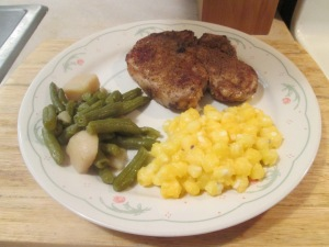 Cumin Spiced Pork Chops w Golden Hominy and Cut Green Beans and 007