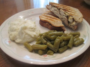 Roasted Chicken Panini w Mash Potatoes and Green Beans 012