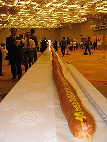 The world's longest hot dog, at 197 feet