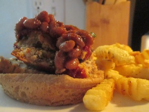 Turkey Meatloaf Sandwich and Baked Fries 005