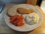 Baked Chicken Breast Strips w Mashed Potatoes and Baby Carrots 005