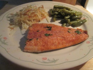 Cajun Rainbow Trout w Hash Browns and Green Beans 008
