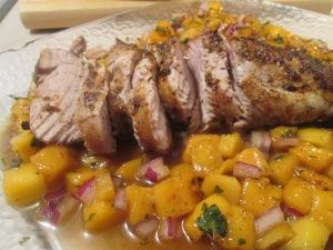 Chili Rubbed Pork with Mango Salsa w New Potatoes 010