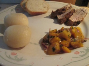 Chili Rubbed Pork with Mango Salsa w New Potatoes 014