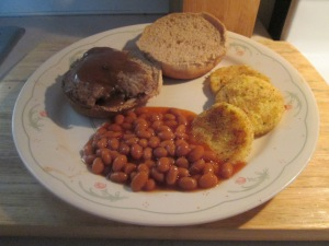 Cubed Steak Sandwich w Fried Polenta and Vegetarian Baked Beans 006