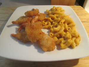 Jumbo Butterfly Shrimp w Mac and Cheese 010