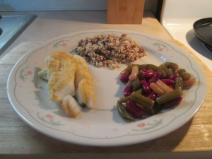 Seasoned Haddock w Multi - Grain Medley and 3 Bean Salad 016