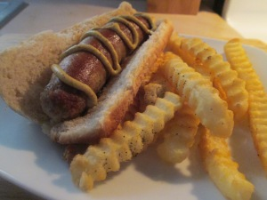 Sweet Italian Turkey Sausage w Baked Crinkle Fries 008