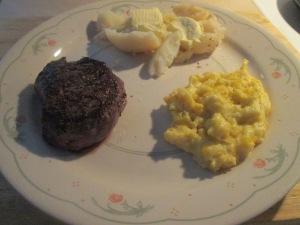 5 oz. Petite Buffalo Top Sirloin Steak w Boiled New Potatoes and 005