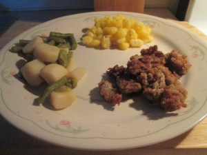 Fried Oysters w Golden Hominy and Cut Green Beans and Potatoes 007