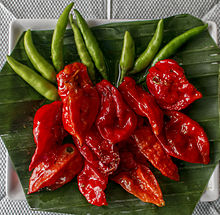 Red Bhut Jolokia and green bird's eye chilies