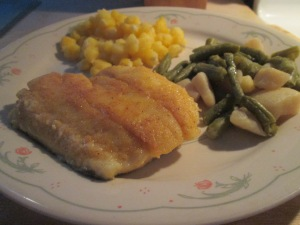 Seasoned Haddock w Golden Hominy and Cut Green Beans and Potatoe 007