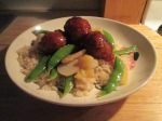 Sweet and Sour Turkey Meatballs w Sugar Snap Peas, Pineapple, Wa010