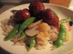Sweet and Sour Turkey Meatballs w Sugar Snap Peas, Pineapple, Wa011
