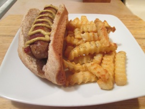 Sweet Italian Turkey Sausage w Baked Crinkle Fries 005